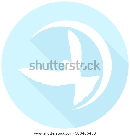 Icon Dove of Peace with a long shadow - stock photo