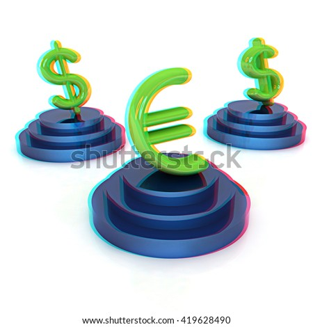 icon euro and dollar signs on podiums on a white background . 3D illustration. Anaglyph. View with red/cyan glasses to see in 3D. - stock photo
