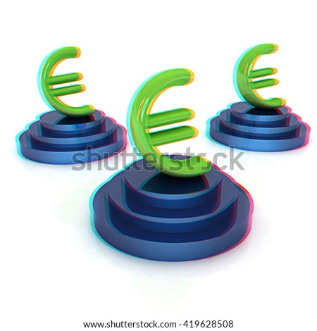 icon euro signs on podiums on a white background . 3D illustration. Anaglyph. View with red/cyan glasses to see in 3D. - stock photo
