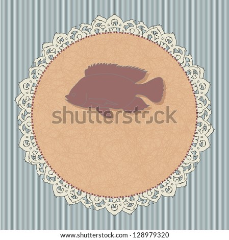 Icon for a restaurant -fish. Rasterized version. - stock photo