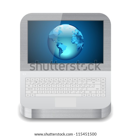 Icon for laptop with Earth on display. White background.