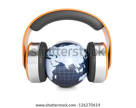 Icon for music. Headphones and earth model on white background