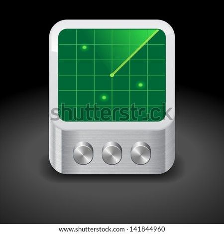 Icon for radar. Dark background. Raster version. Vector version is also available. - stock photo