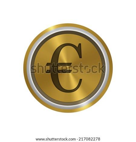 Icon golden token : money euro - stock photo