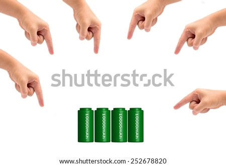 icon green battery of Cell phone and many hand isolated on white - stock photo