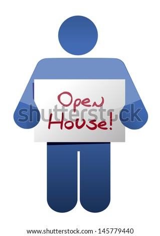 icon holding an open house sign illustration design