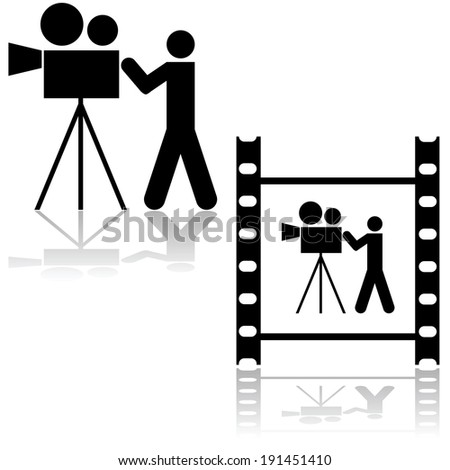 Icon illustration showing a man operating a film camera, within a film strip or by itself  - stock photo