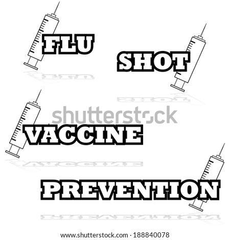 Icon illustration showing a syringe beside words such as flu, shot and vaccine