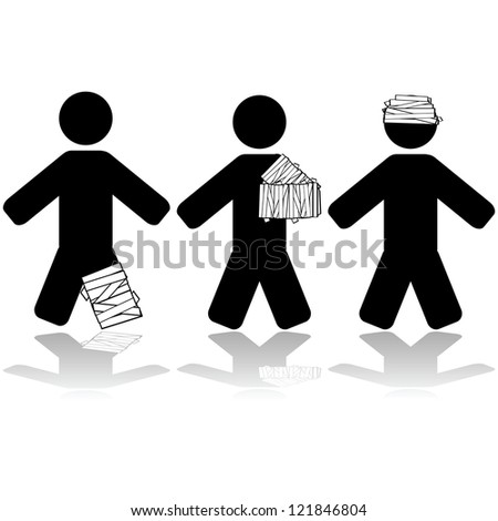 Icon illustration showing people injured in different parts of their body - stock photo