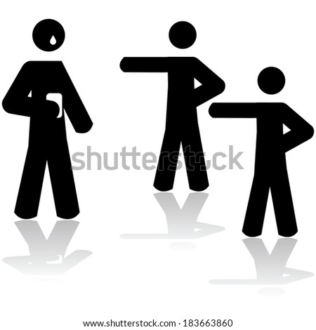 Icon illustration showing two people pointing at a third person holding a smartphone and crying  - stock photo
