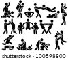ICON MAN VARIOUS POSITIONS - stock photo