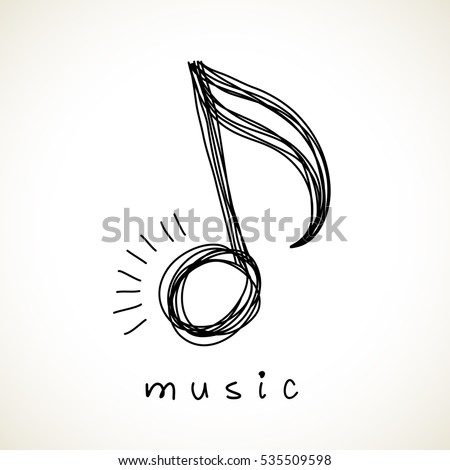 Icon music note of doodle. Logo design template. Simple hand drawn cute icon. Abstract decorative illustration for print, web.