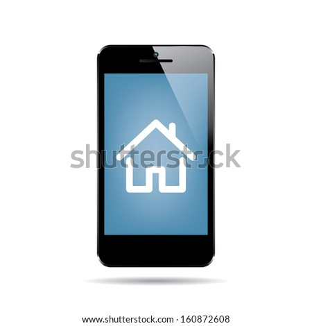 icon of black smartphone with house on display.(rasterized version) - stock photo