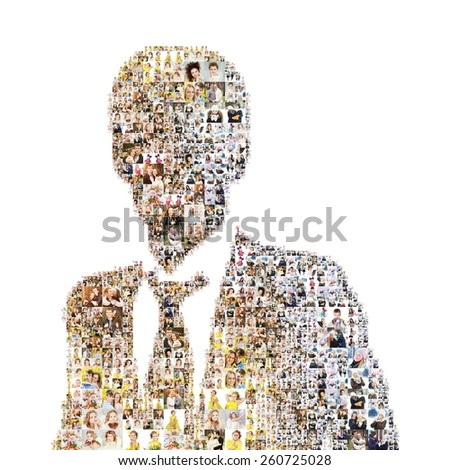 icon of businessman. Formed with photos. collage, isolated - stock photo
