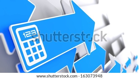Icon of Calculator on Blue Arrow on a Grey Background. - stock photo