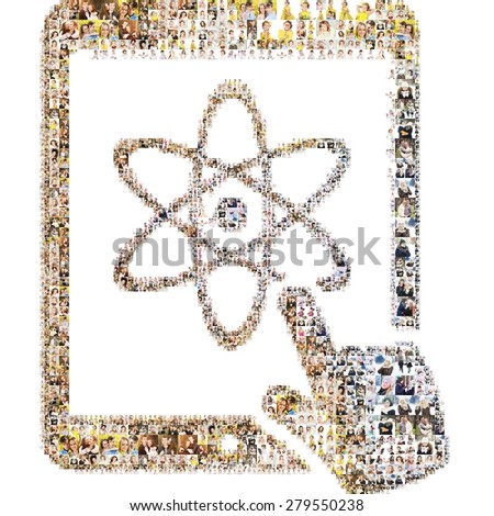 Icon of chemistry on tablet. Formed out of a lot people's portrait photography. - stock photo