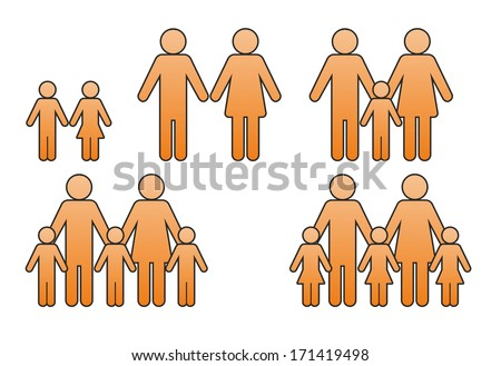 icon of different family situations with man and woman and child