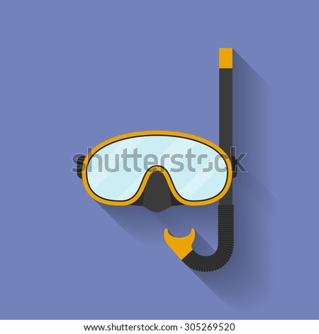 Icon of diving mask. Flat style - stock photo