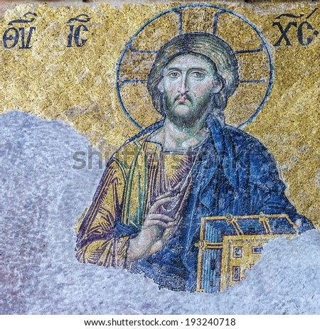 Icon of Jesus Christ in Cathedral mosque Hagia Sofia in Istanbul, Turkey - stock photo