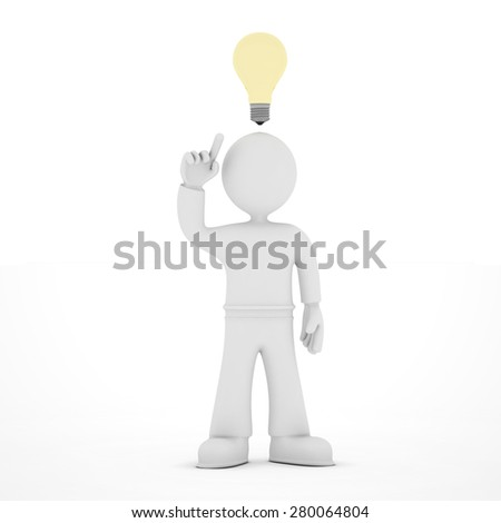 Icon of man with idea light bulb over head, 3D render