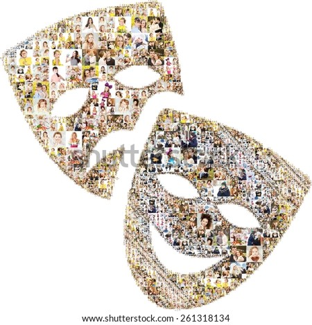 icon of masks. formed with photos. collage - stock photo