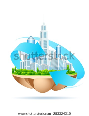 Icon of modern city on island. Isolated on white background.
