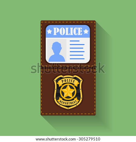 Icon of Police Badge With Id Case, holder. Flat style  - stock photo