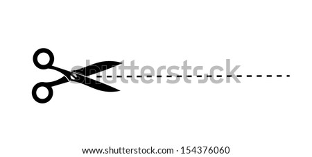 Icon of scissors with cutout line - stock photo