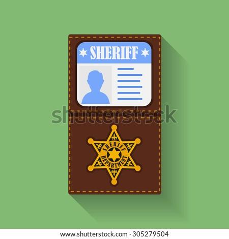 Icon of Sheriff Badge With Id Case, holder. Flat style  - stock photo