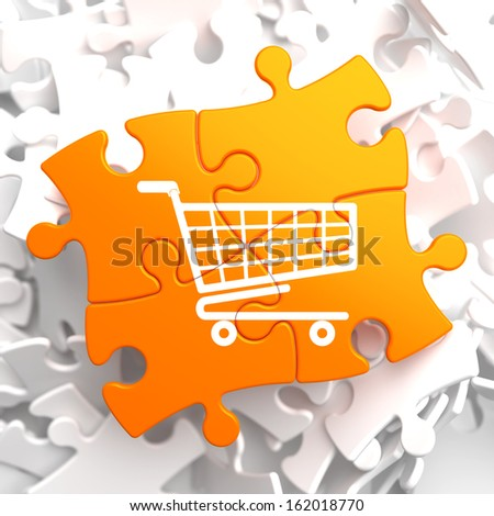 Icon of Shopping Cart on Orange Puzzle. - stock photo