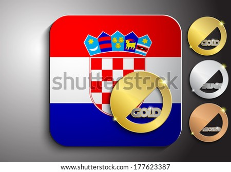 Icon of the Croatian flag with gold silver and bronze medal