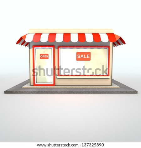 Icon of the facade of a shop store or cafe - stock photo