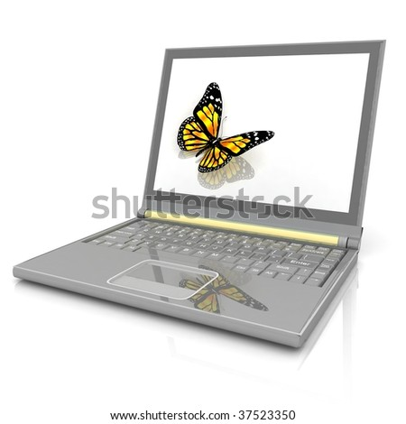 Icon of the laptop with the butterfly