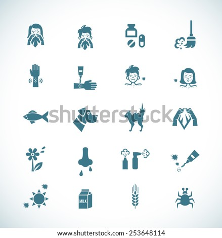 Icon painted in dark blue color on a white background on the topic of allergies and its causes - stock photo