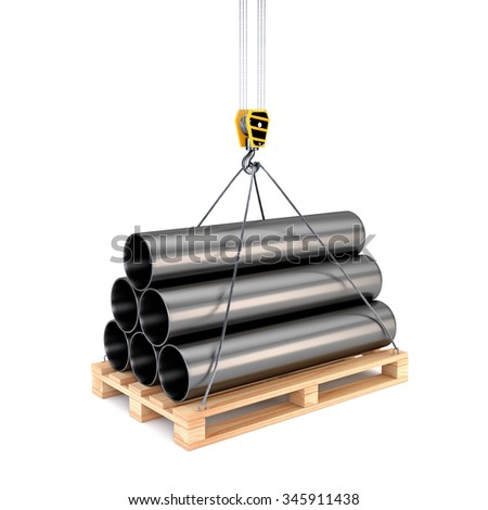 Icon pipe on a pallet with a crane hook isolated on white background. Design of logistics services: warehousing, transportation / delivery. 3d illustration. - stock photo