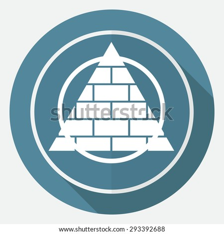 Icon Pyramid on white circle with a long shadow - stock photo