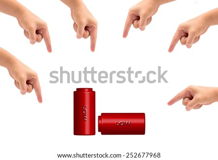icon red battery of Cell phone many hand isolated on white - stock photo
