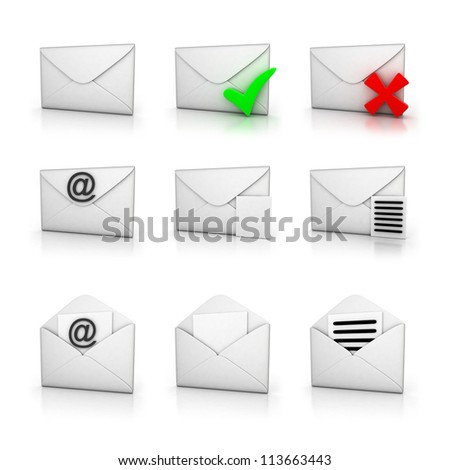 Icon set email  (done in 3d,isolated)