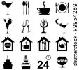 icon set for restaurant, cafe and bar isolated on white background.  Illustration - stock vector