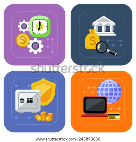 Icon set of banking, deposit interest, online payment, protection of deposit and finance investment on multicolored background in flat design. Raster version - stock photo