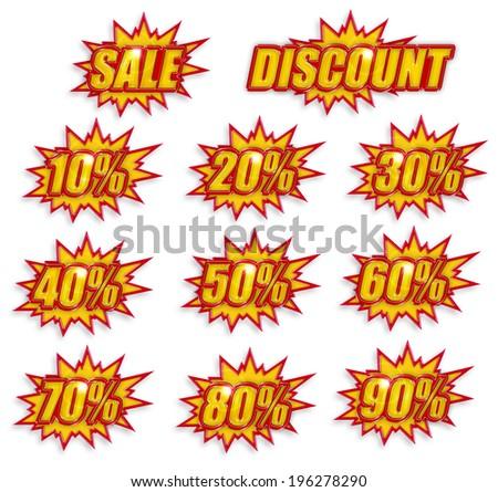 icon set of discount percentage on white background - stock photo