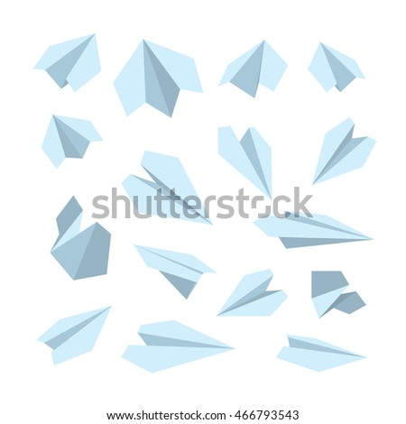 icon set of Origami plane collection. Handmade paper plane isolate on white background