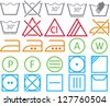 Icon set of washing signs and care label - stock vector