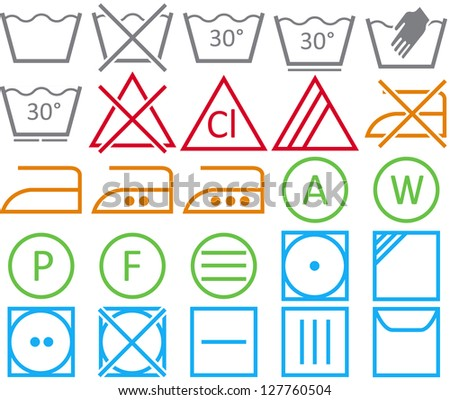 Icon set of washing signs and care label - stock photo