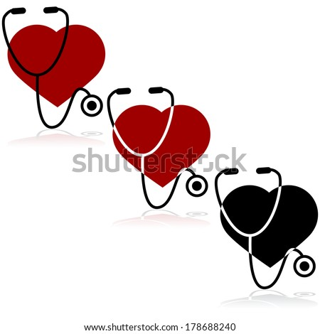 Icon set showing a heart and a stethoscope - stock photo