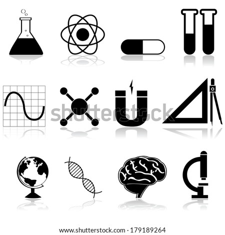 Icon set showing different science subjects from school and college