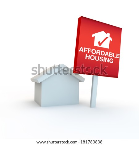 icon to represent affordable housing with home and sign - stock photo