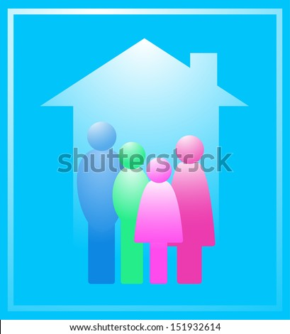 icon with colorful family in house silhouette - stock photo