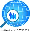 icon with family in magnifier on planet background - stock vector