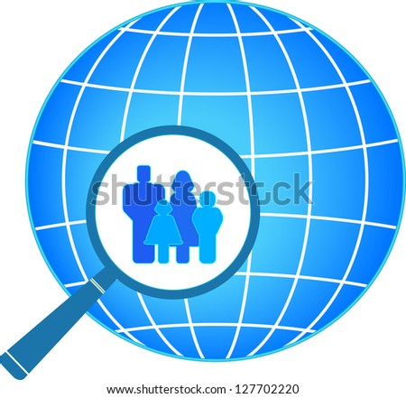 icon with family in magnifier on planet background - stock photo
